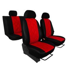 Autopotahy Škoda Octavia I, kožené EMBOSSY, dělené zadní sedadla, červené