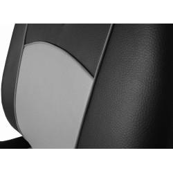 Autopotahy Škoda Fabia I kožené Tuning černošedé, dělené zadní sedadla