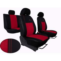 Autopotahy ŠKODA RAPID, integrované přední opěrky hlavy,EXCLUSIVE kůže a alcantara červené