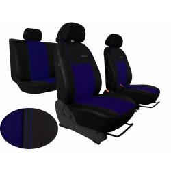 Autopotahy ŠKODA RAPID, integrované přední opěrky hlavy,EXCLUSIVE kůže a alcantara modré