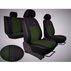 Autopotahy ŠKODA RAPID, integrované přední opěrky hlavy,EXCLUSIVE kůže a alcantara zelené