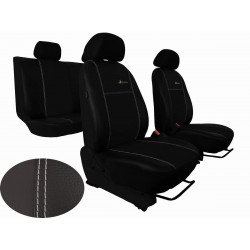 Autopotahy Škoda Fabia I, kožené EXCLUSIVE černé, dělené zadní sedadla