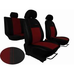 Autopotahy Škoda Fabia I, kožené EXCLUSIVE černovínové, dělené zadní sedadla