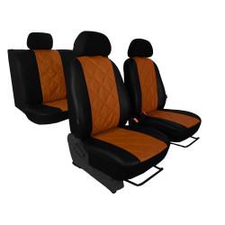 Autopotahy Škoda Fabia II, kožené EMBOSSY, dělené zadní sedadla, hnědé
