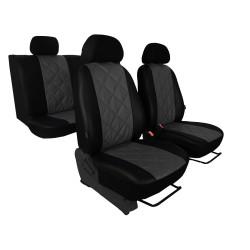 Autopotahy Škoda Fabia II, kožené EMBOSSY, dělené zadní sedadla, šedé