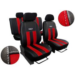 Autopotahy Honda Civic IX, 5 dveř, kombi, od r. 2012, kožené s alcantarou, GT červené
