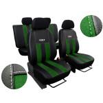 Autopotahy ŠKODA RAPID, integrované přední opěrky hlavy, GT kůže a alcantara zelené
