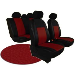 Autopotahy VOLKSWAGEN POLO V, dělená zadní sedadla, od r. v. 2009, kožené PELLE vínové