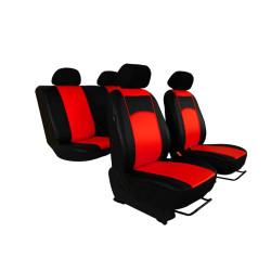 Autopotahy Škoda Fabia I kožené Tuning černočervené, dělené zadní sedadla