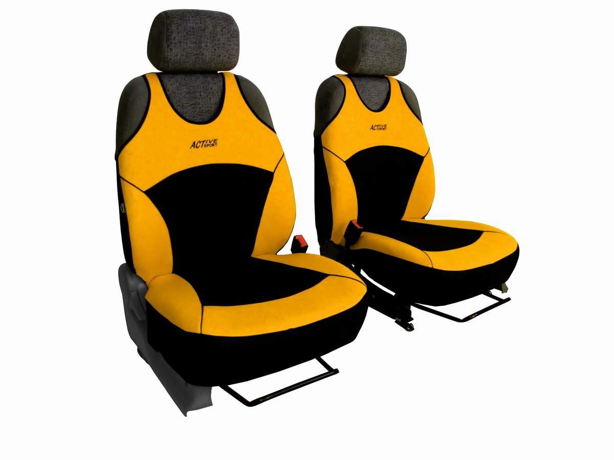 Autopotahy Active Sport Alcantara, sada pro dvě sedadla, žluté
