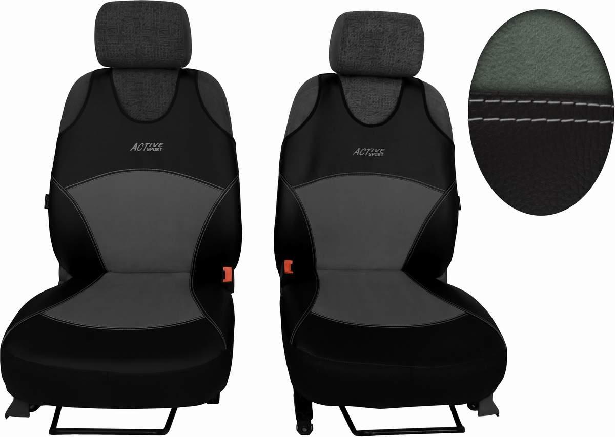 Autopotahy Active Sport kožené s alcantarou, sada pro dvě sedadla, světlešedé