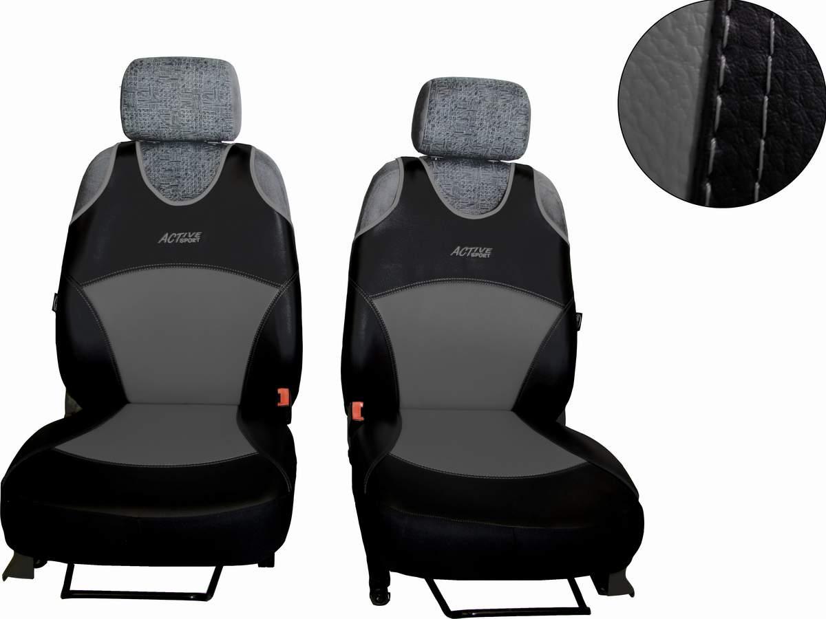 Autopotahy Active Sport kožené, sada pro dvě sedadla, šedé