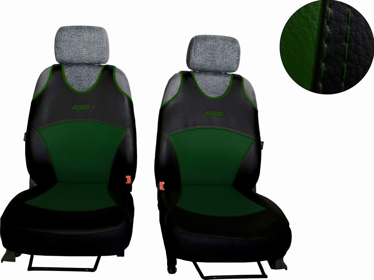 Autopotahy Active Sport kožené, sada pro dvě sedadla, zelené