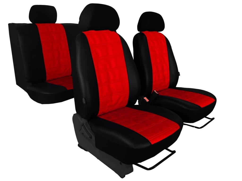 Autopotahy EMBOSSY kožené, pruhovaný plastický vzor, červené