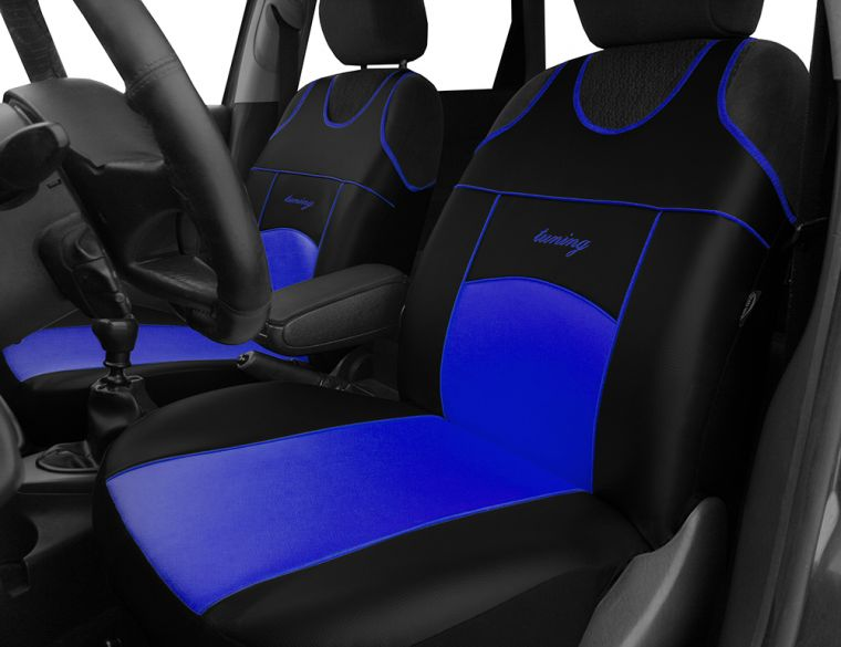 Autopotahy Autopotahy TUNING EXTREME KOŽENÉ, sada pro dvě sedadla, modré