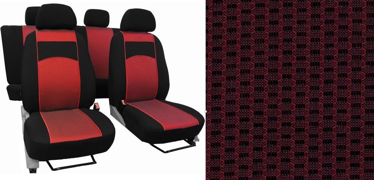 Autopotahy Volkswagen Golf VI, dělené zadní opěradlo, od r. 2008-2012, VIP červené
