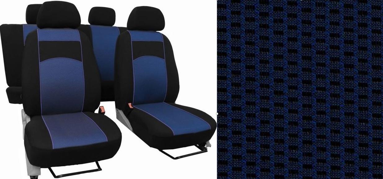 Autopotahy Volkswagen Golf VI, dělené zadní opěradlo, od r. 2008-2012, VIP modré