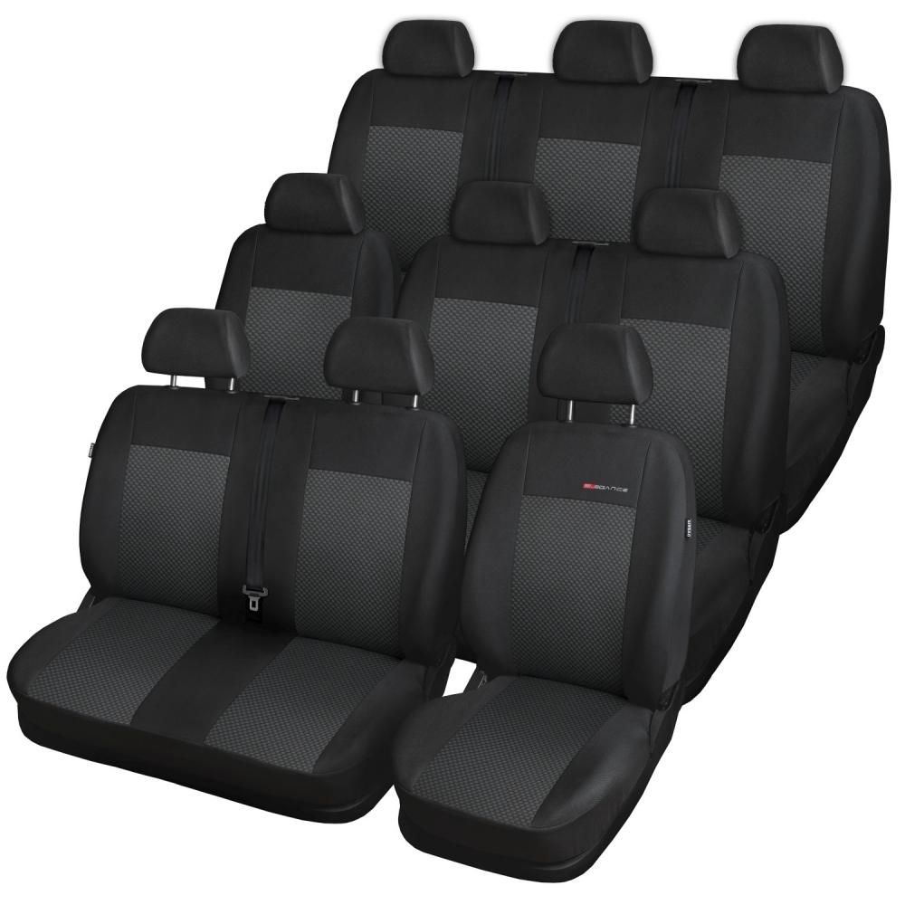 Autopotahy Volkswagen T4, 9 míst, 1+2+2+1+3, od r. 1990-2003, černé